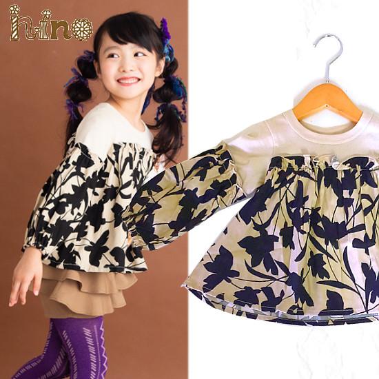 nino(ニノ)フラワーPT ギャザーTシャツ  90cm-140cm